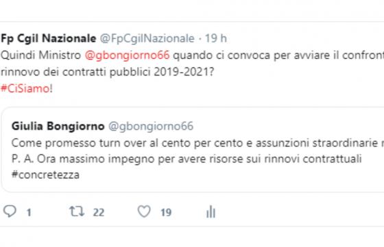 Scambio di tweet, Bongiorno promette i rinnovi contrattuali per la Pa