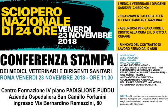 Sanità: Sindacati, 23 novembre sciopero nazionale medici, veterinari e dirigenti sanitari