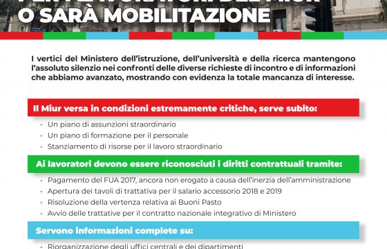 Pa: Cgil Cisl Uil, risposte ai lavoratori del Miur o sarà mobilitazione