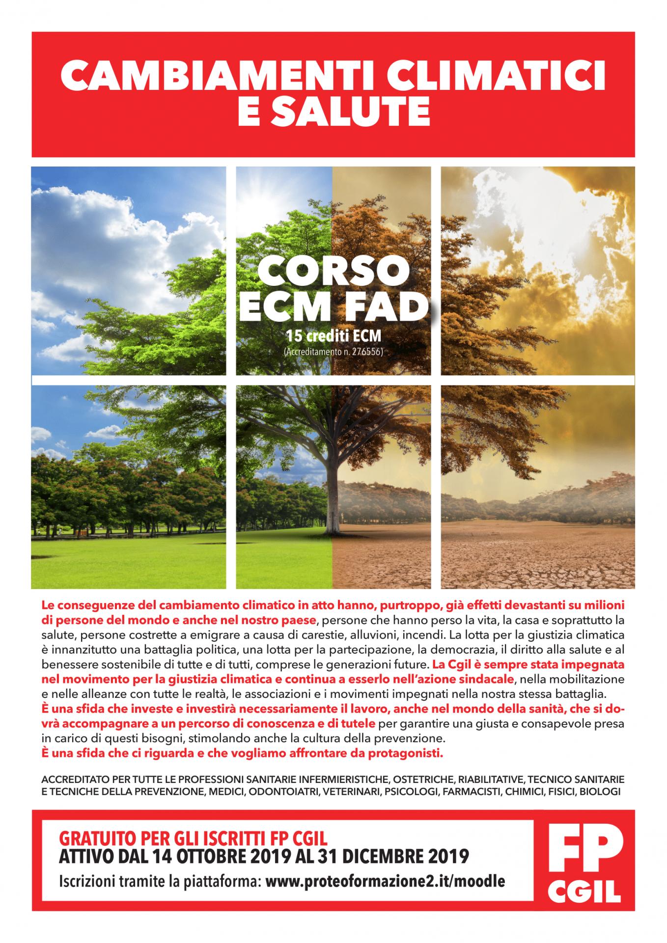 Cambiamenti Climatici E Salute Dal 14 Ottobre Online Nuovo Corso Ecm Fad Promosso Da Fp Cgil Fp Cgil Funzione Pubblica