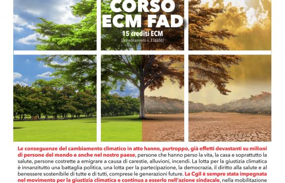 Cambiamenti climatici e salute, dal 14 ottobre online nuovo corso Ecm Fad promosso da Fp Cgil