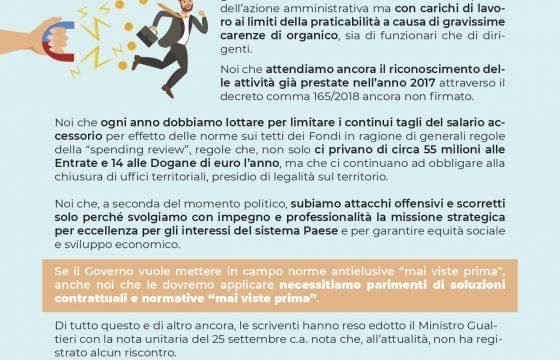 Agenzia Entrate – Dogane e Monopoli: Volantino Presidio