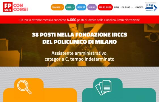 Fp Cgil, è online concorsipubblici.fpcgil.it, piattaforma di informazione e formazione