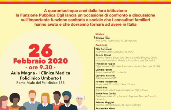 Fp Cgil, 26 febbraio iniziativa 'Consultori familiari, presidi pubblici essenziali'