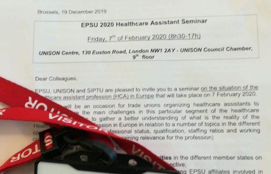 Dipartimento Internazionale – Report Seminario EPSU 2020 Healthcare Assistant Seminar