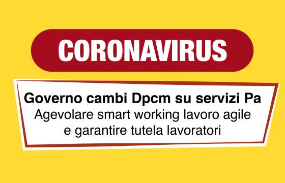 Coronavirus, governo cambi Dpcm su servizi Pa