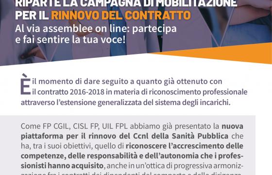 Riparte la campagna di mobilitazione per il rinnovo del contratto Sanità Pubblica