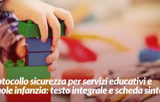 Sottoscritto in via definitiva protocollo sicurezza servizi educativi e scuole infanzia