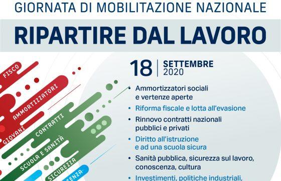 Cgil, Cisl e Uil, 18 settembre mobilitazione nazionale 'Ripartire dal Lavoro'