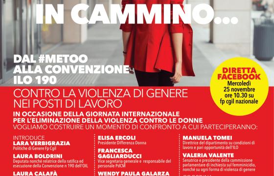Donne: Fp Cgil, 25 novembre diretta Facebook su giornata contro violenza sulle donne