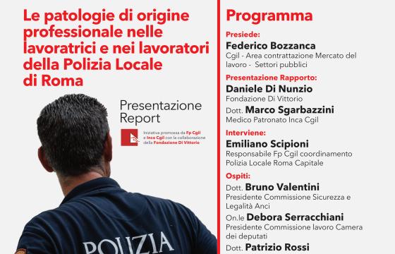 Cgil, 10 dicembre presentazione report su patologie lavoratori Polizia Locale