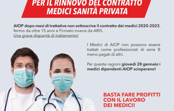 Sanità: Fp Cgil, oggi sciopero Medici strutture private Aiop