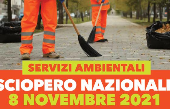 Contratto Servizi Ambientali, sciopero nazionale 8 novembre