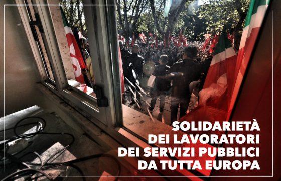 Assalto alla Cgil, la solidarietà dei lavoratori dei servizi pubblici da tutta Europa